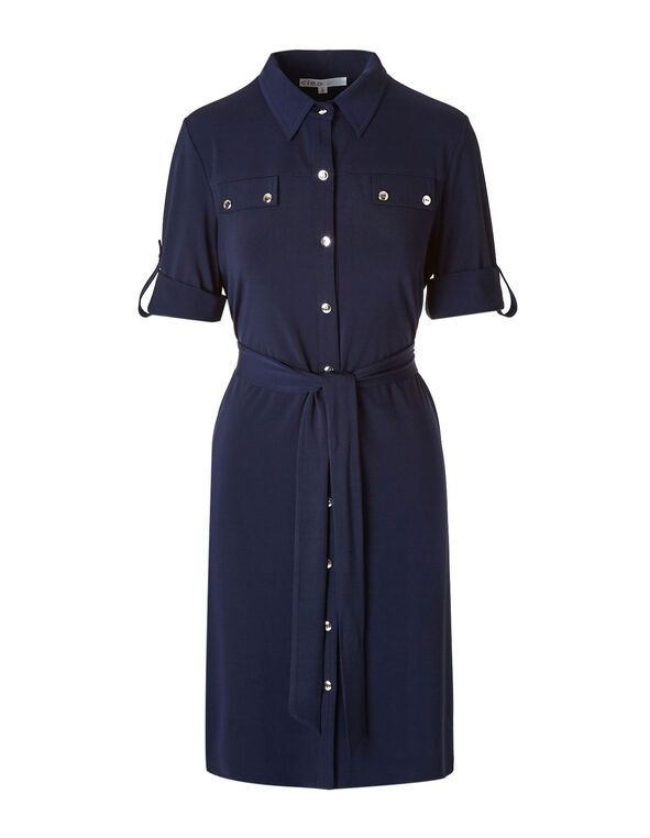 Navy Shirt Shift Dress, Navy, hi-res