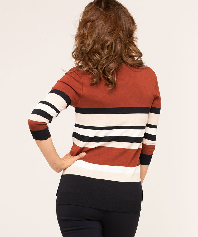 V-Neck Button Shoulder Pullover Sweater, Rust, hi-res