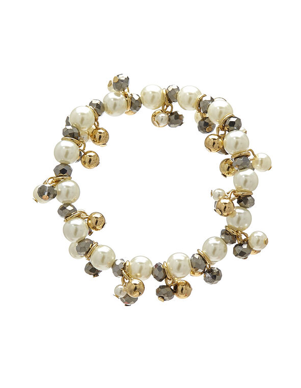 Pearl Beaded Elastic Bracelet, Gold, hi-res