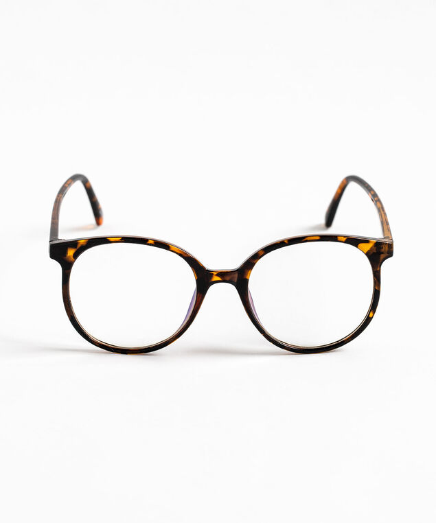Round Blue Light Reader Glasses, Brown/Black Tortoise