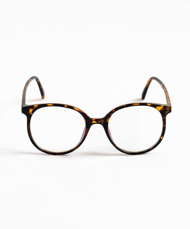 Round Blue Light Reader Glasses, Brown/Black Tortoise