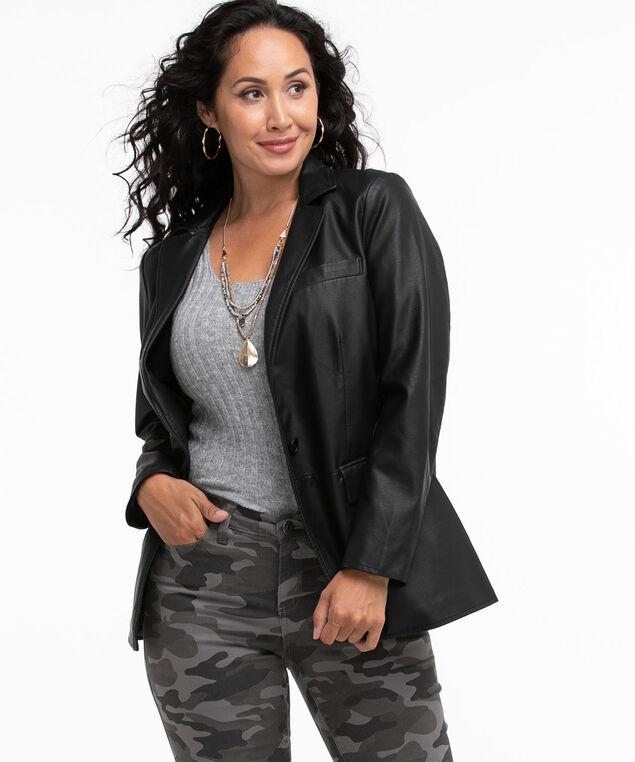 Vegan Leather Blazer, Black