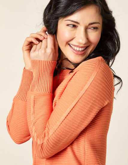 Ottoman Stitch Sweater, Orange, hi-res