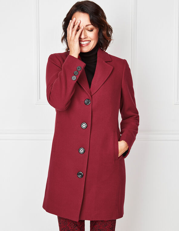 Red Faux Wool Coat, Red, hi-res