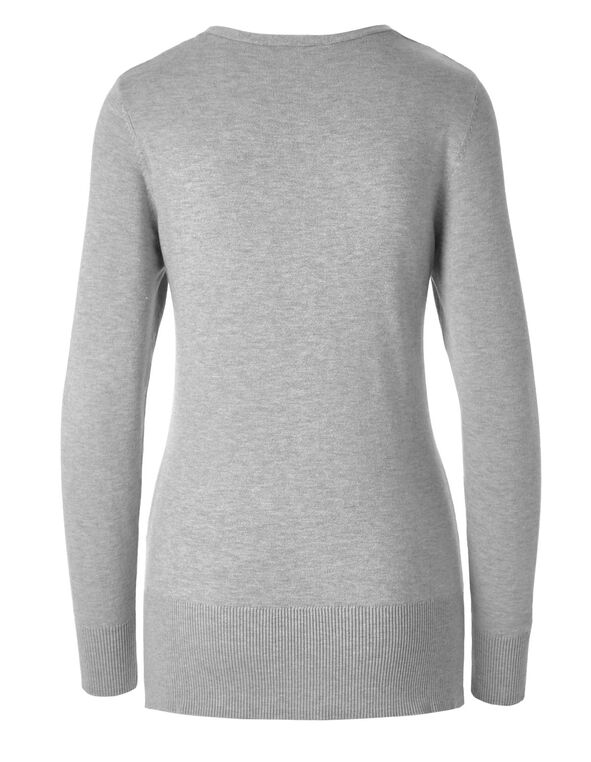 Grey Pullover Sweater, Grey, hi-res
