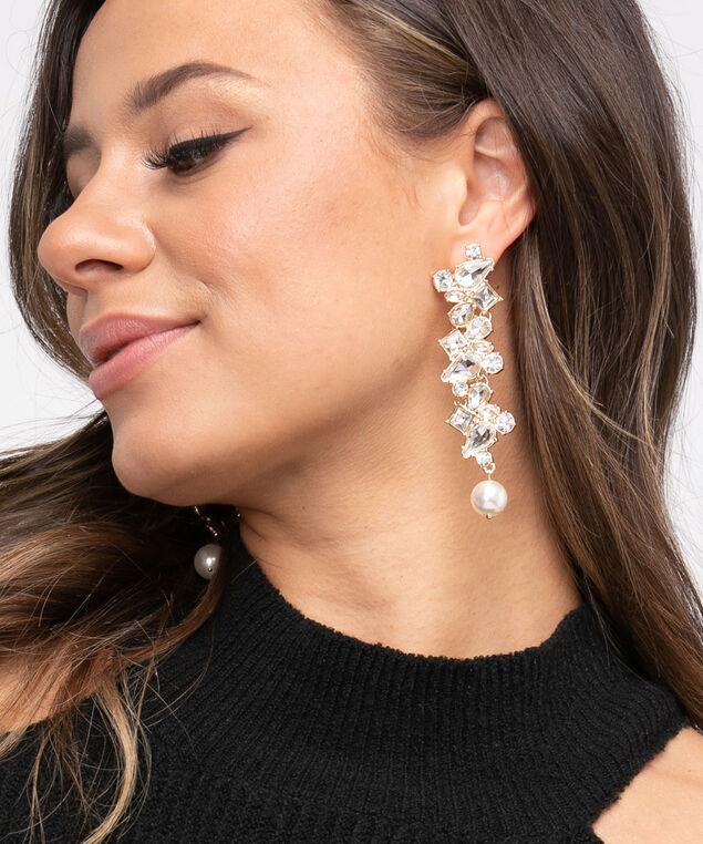 Crystal & Pearl Drop Earring, Gold