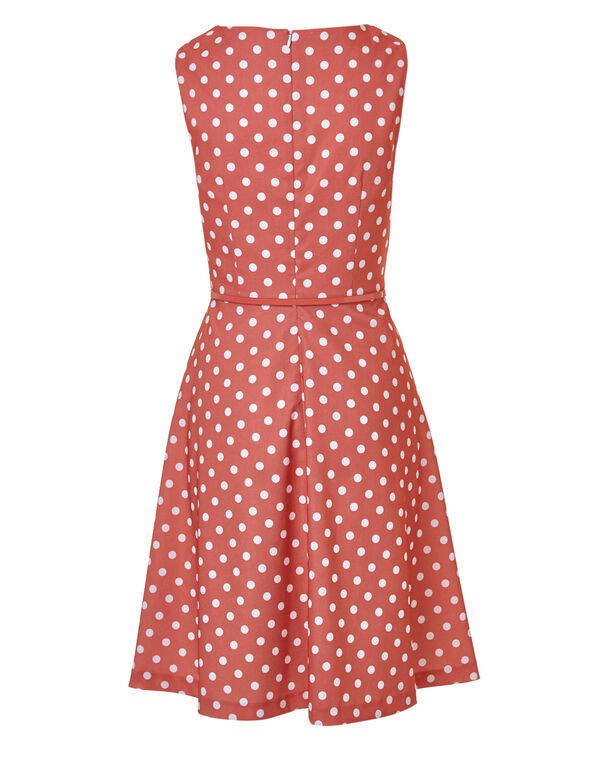 Coral Dotted Pleated Dress, Coral, hi-res