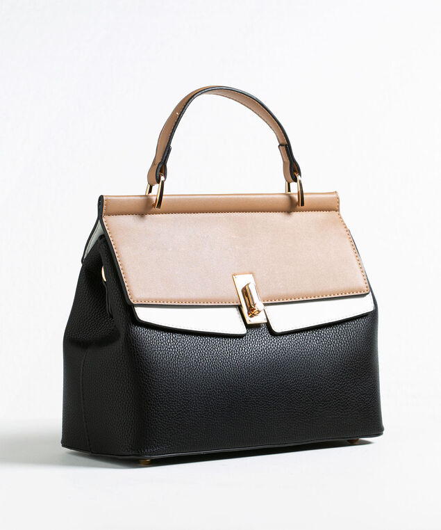Black Colourblock Handbag, Black/Camel/Ivory, hi-res