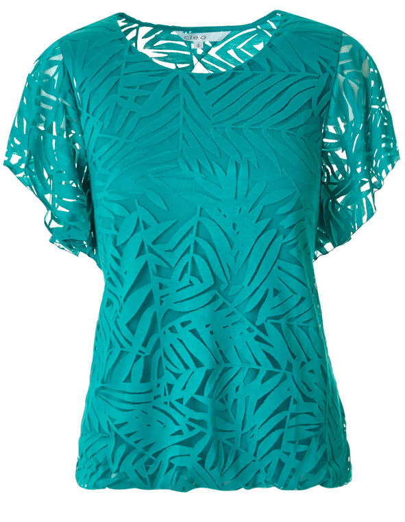Turquoise Burnout Top, Turquoise, hi-res