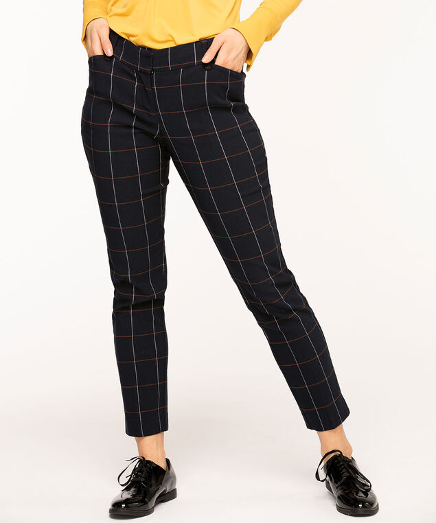 Navy Plaid Slim Leg Pant, Navy Plaid