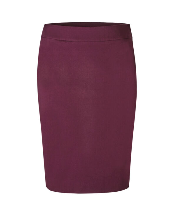 Wine Pull On Pencil Skirt, Wine, hi-res