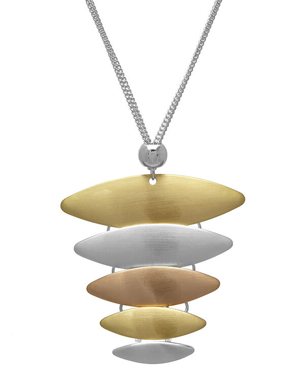 Long Silver Triangular Pendant Necklace, Gold/Silver, hi-res
