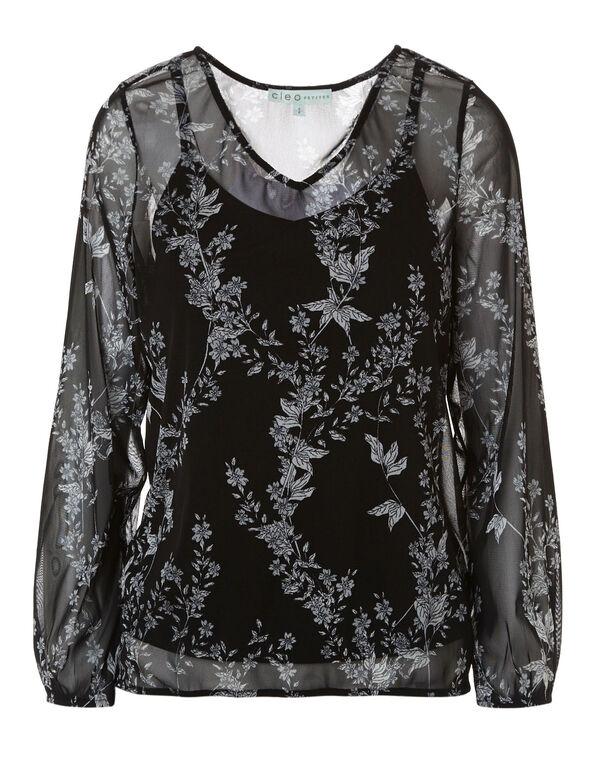 Black Floral Printed Mesh Top, Black, hi-res