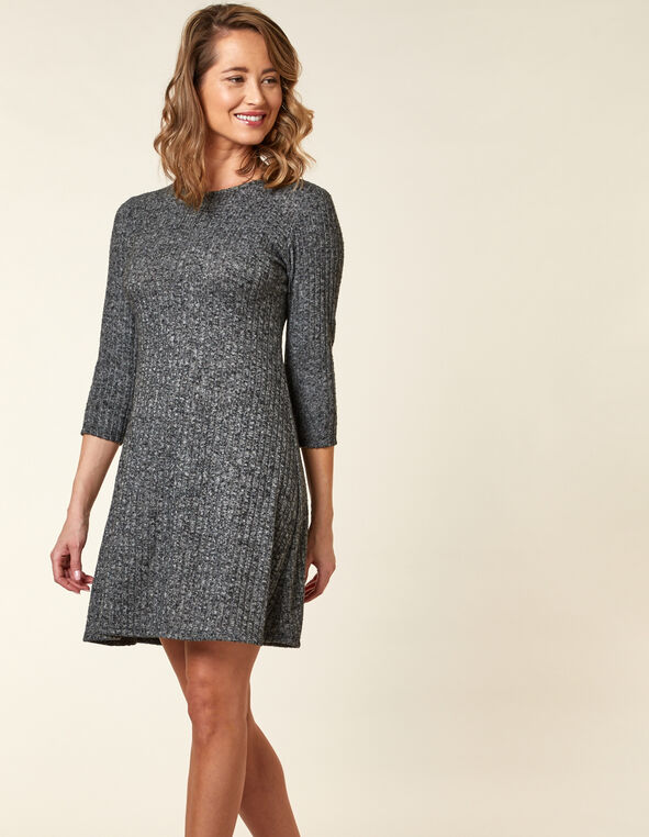 Light Grey Hacchi A-Line Dress, Grey, hi-res
