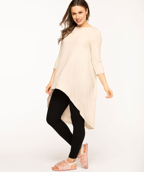 Pleat Back High-Low Tunic, Tan, hi-res