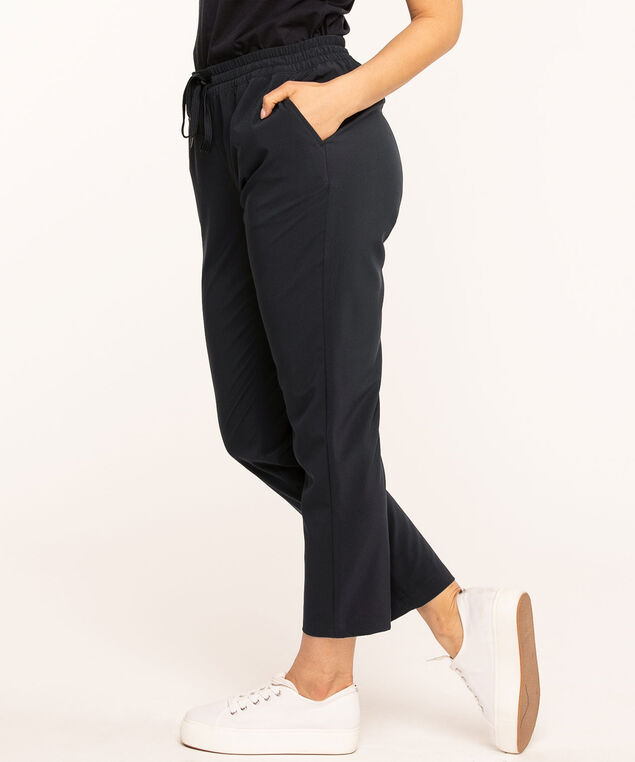 Pull On Drawstring Ankle Pant, Navy