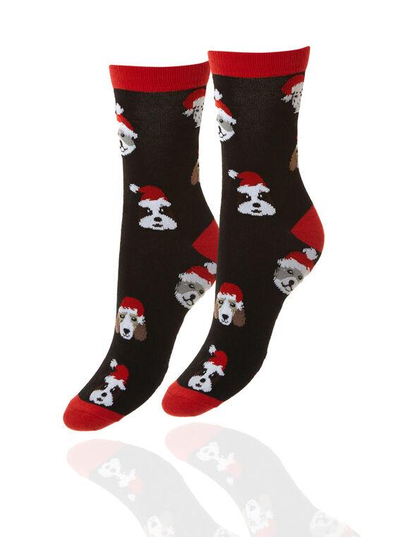 Dog Print Holiday Socks, Black, hi-res