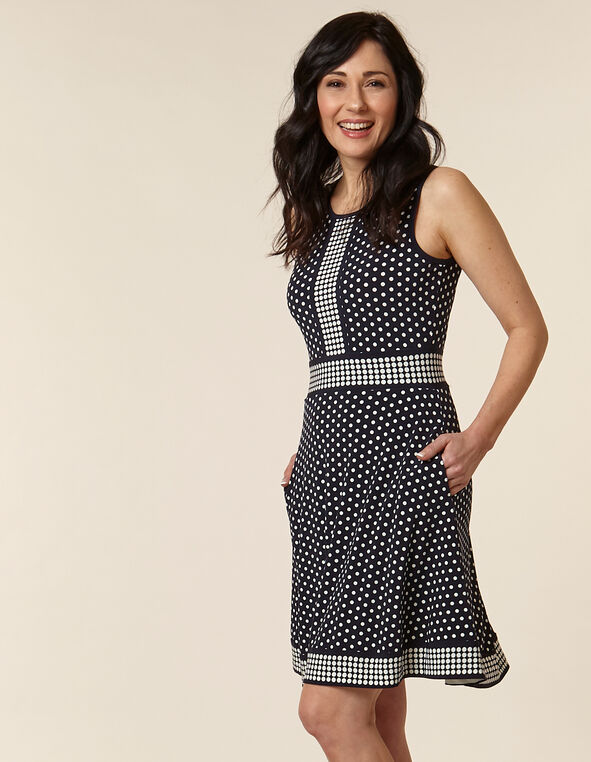 Navy Polka Dot Fit & Flare Dress, Navy, hi-res