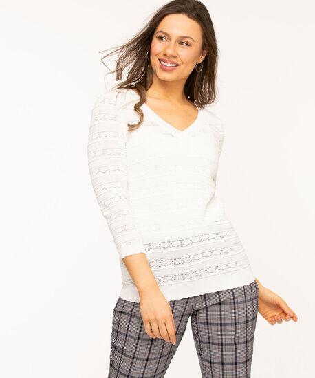 Ivory Pointelle V-Neck Sweater, Ivory, hi-res