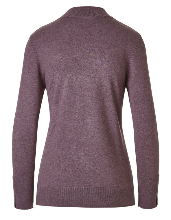 Plum Mock Neck Sweater, Plum, hi-res