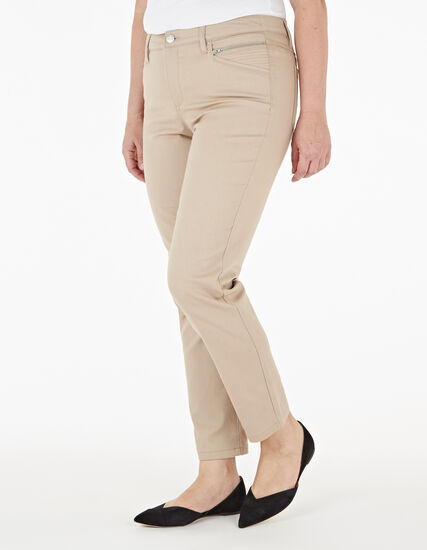 Tan Zip Ankle Jean, Tan, hi-res