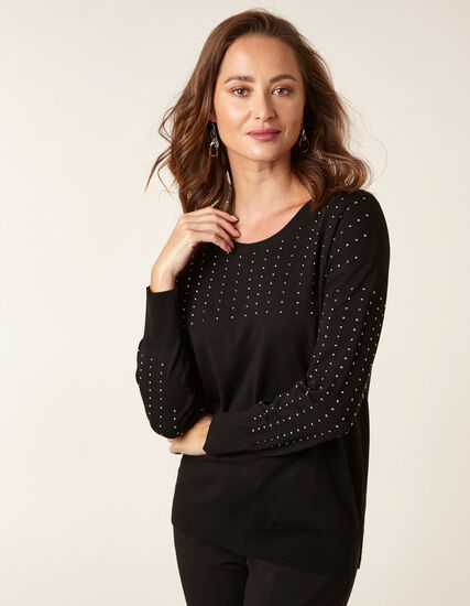 Black Stud Detail Sweater, Black, hi-res