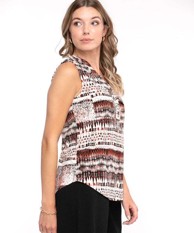 Sleeveless Y-Neck Knit Top, Ivory/Rust Print
