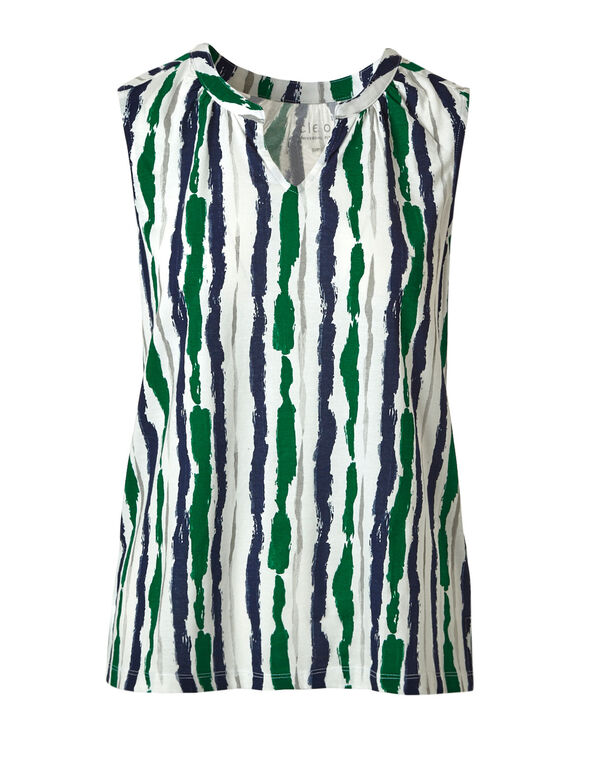 Green Striped Sleeveless Tee, Ivory/Green/Navy, hi-res