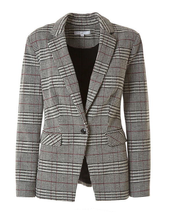 Houndstooth Boyfriend Blazer, Black/White, hi-res