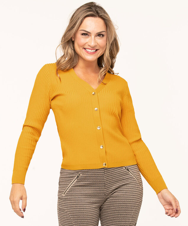 Gold Button Ribbed Cardigan, Gold, hi-res