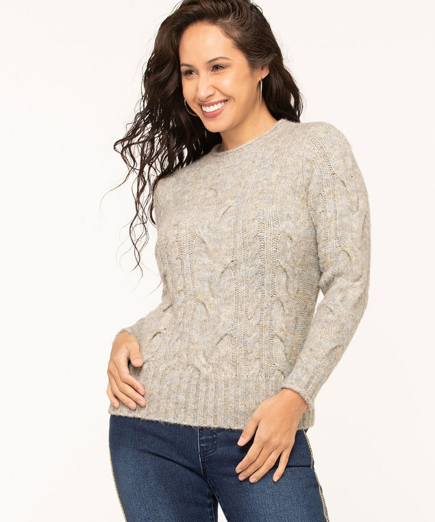 Grey Cable Stitch Mock Neck Sweater, Light Grey Mix
