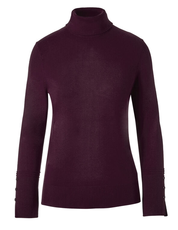 Burgundy Turtleneck Sweater, Burgundy, hi-res