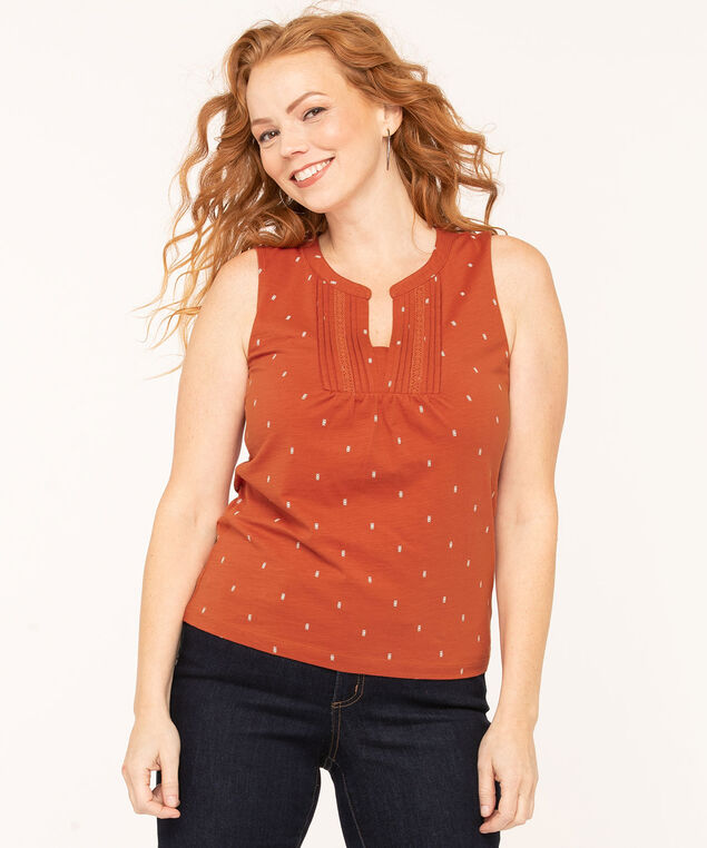 Sleeveless Peasant Style Knit Tee, Rust/White, hi-res