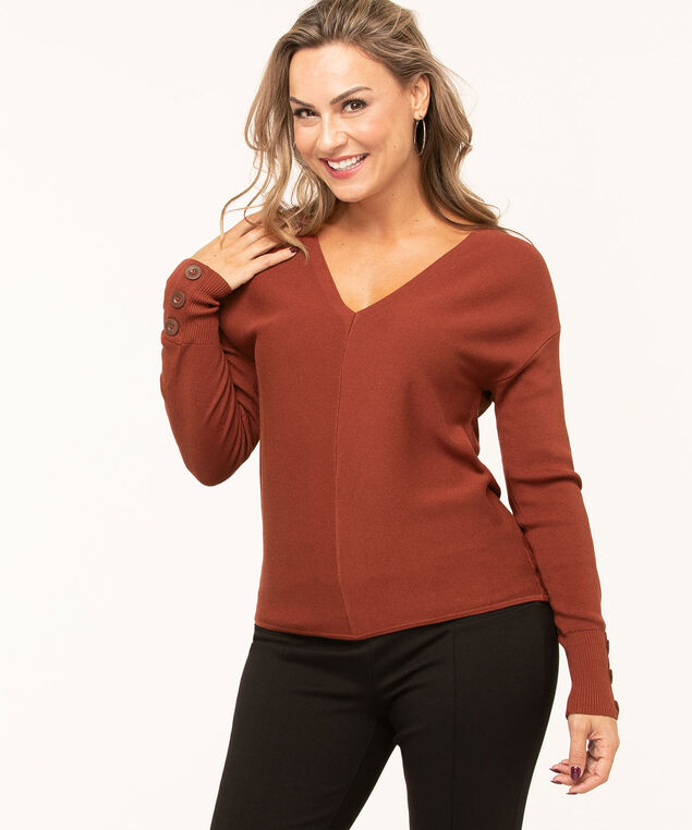 V-Neck Button Detail Sweater, Rust, hi-res