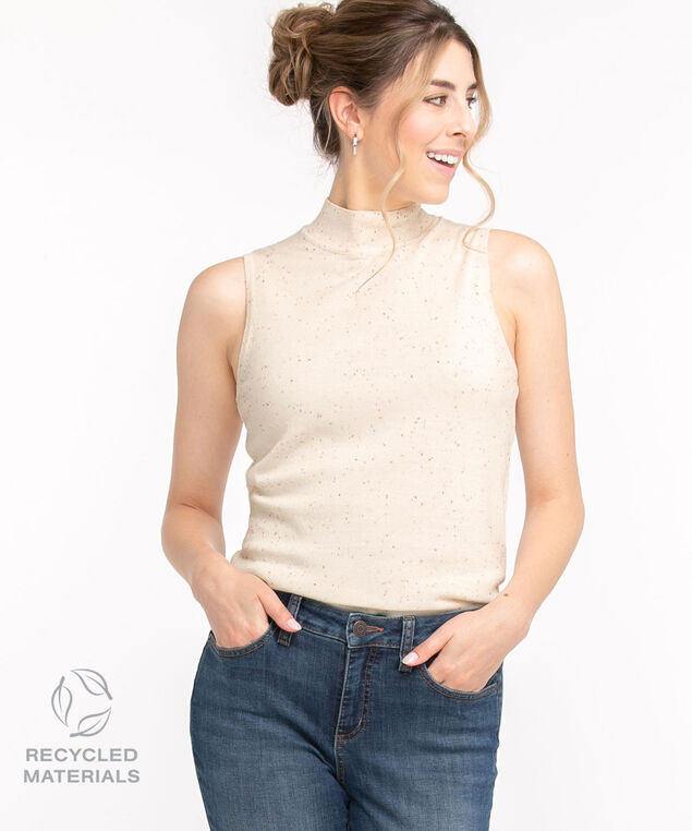 Recycled Mock Neck Sleeveless Sweater, Ivory Speckle