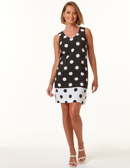 Polka Dot Sleeveless Dress, Black, hi-res