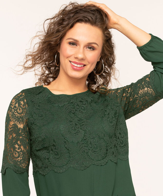 Lace Overlay Popover Blouse, Forest Green, hi-res
