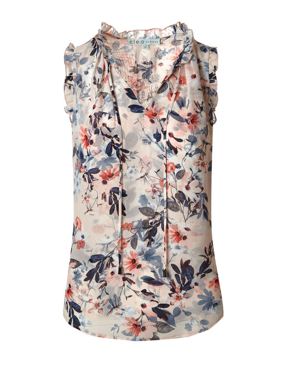 Coral Floral Double Layer Blouse, Coral, hi-res