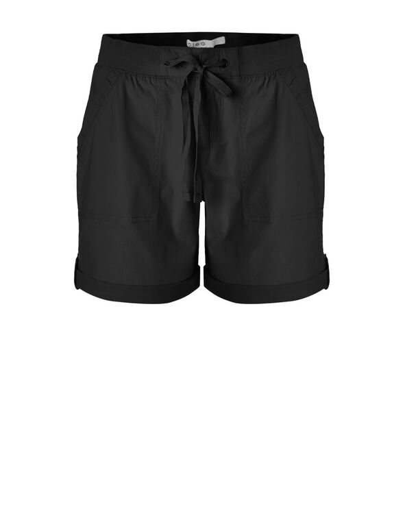 Black Cotton Poplin Short, Black, hi-res