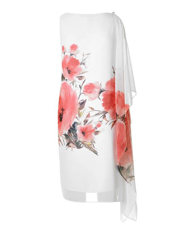 White Floral One Shoulder Dress, White, hi-res