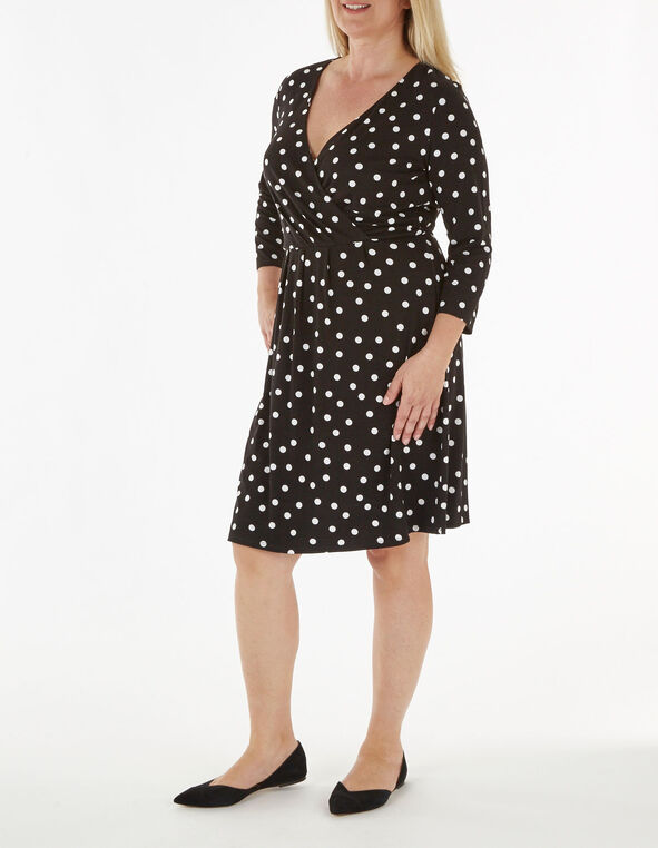 Black Polka Dotted Fit & Flare Dress, Black, hi-res