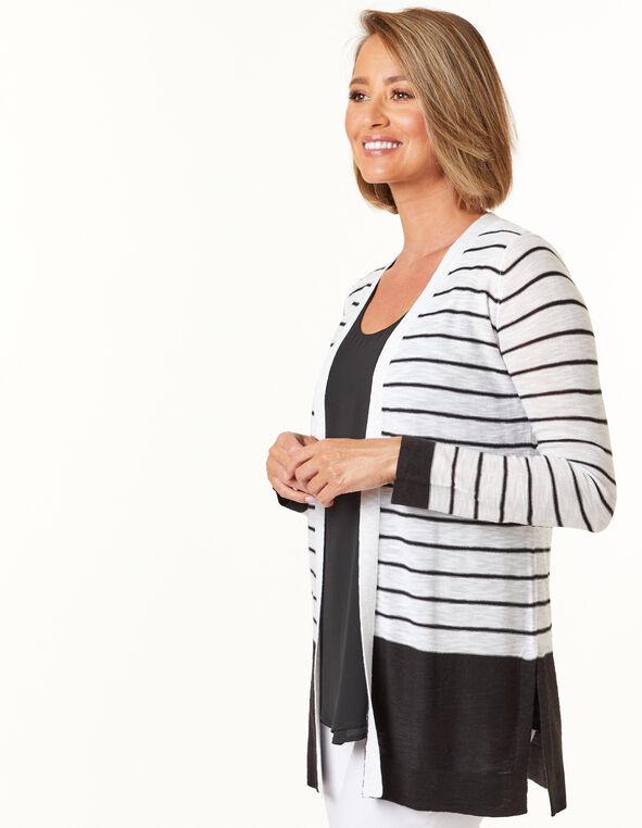 Black Striped Cardigan, White, hi-res
