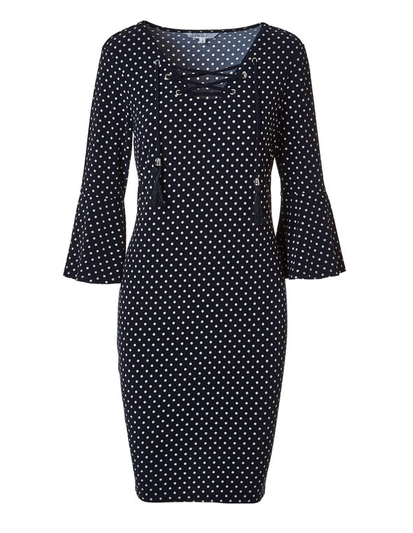 Navy Dotted Bell Sleeve Dress, Navy/White, hi-res