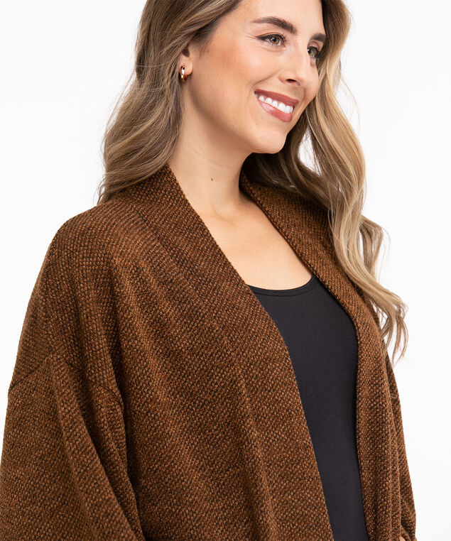 Tweed Knit Tunic Cardigan, Cognac