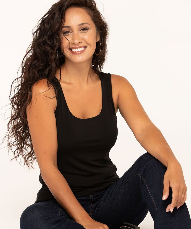 Essential Scoop Neck Layering Tank, Black, hi-res