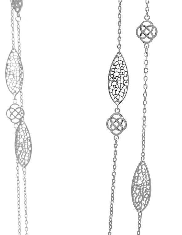Long Silver Filigree Pendant Necklace, Silver, hi-res