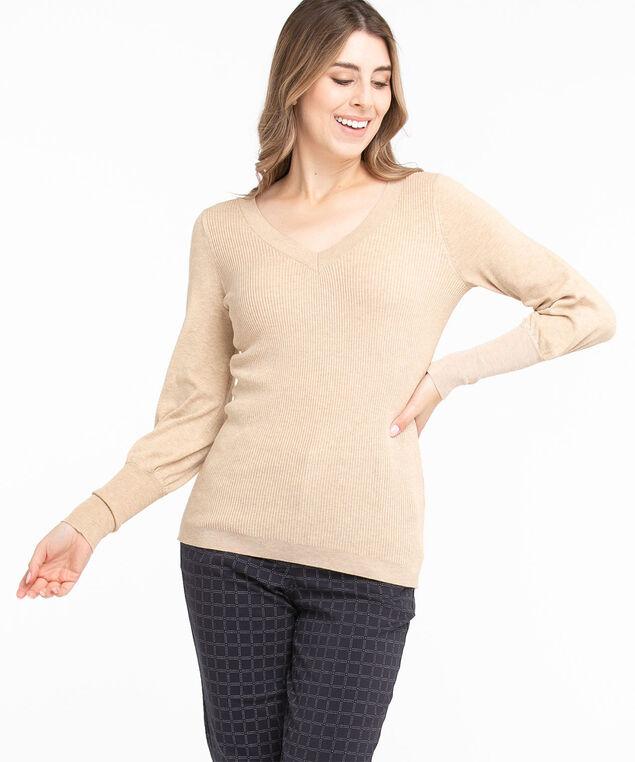 Low Impact V-Neck Sweater, Straw Mix