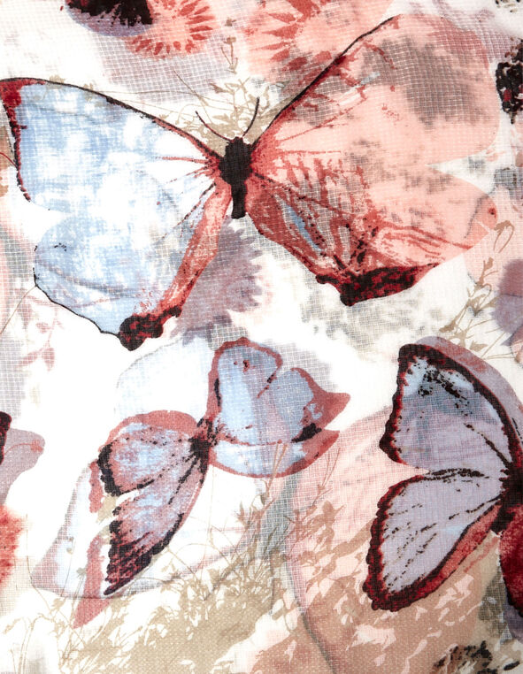 Pink & Blue Butterfly Printed Scarf, Pink/Blue/Neutral, hi-res