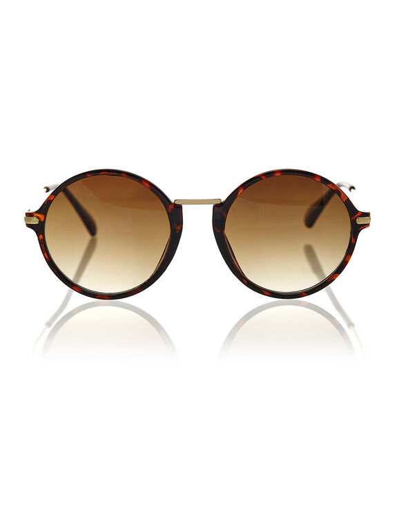 Round Big Frame Sunglasses, Brown, hi-res