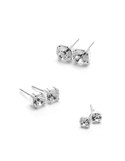 Genuine Crystal Trio Earring Set, Silver, hi-res